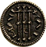 obverse of 1 Denar - Coloman (1095 - 1116) coin with EH# 30 from Hungary.