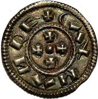obverse of 1 Denar - Coloman (1095 - 1116) coin with EH# 27 from Hungary. Inscription: CALMAN RE+