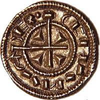 obverse of 1 Denar - István II (1116 - 1131) coin with EH# 35 from Hungary.