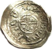 reverse of 1 Denar - Salamon (1063 - 1074) coin with EH# 9 from Hungary. Inscription: +PANNONIA TERA
