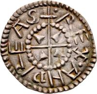 obverse of 1 Denar - András I coin with EH# 4 from Hungary. Inscription: REX ANDREAS