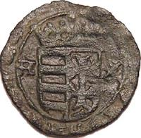 reverse of 1 Denar - Wladislas I (1442 - 1444) coin with EH# 470 from Hungary.