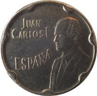 obverse of 50 Pesetas - Juan Carlos I - Expo 92 (1990) coin with KM# 852 from Spain. Inscription: JUAN CARLOS I ESPAÑA