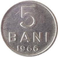 reverse of 5 Bani (1966) coin with KM# 92 from Romania. Inscription: 5 BANI 1966