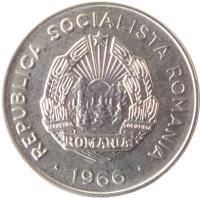obverse of 25 Bani (1966) coin with KM# 94 from Romania. Inscription: REPUBLICA SOCIALISTA ROMANIA REPUBLICA SOCIALISTA ROMANIA · 1966 ·