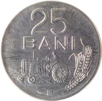 reverse of 25 Bani (1966) coin with KM# 94 from Romania. Inscription: 25 BANI