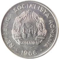 obverse of 15 Bani (1966) coin with KM# 93 from Romania. Inscription: REPUBLICA SOCIALISTA ROMANIA · 1966 ·