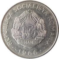 obverse of 3 Lei (1966) coin with KM# 96 from Romania. Inscription: REPUBLICA SOCIALISTA ROMANIA REPUBLICA SOCIALISTA ROMANIA · · 1966 · ·