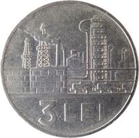 reverse of 3 Lei (1966) coin with KM# 96 from Romania. Inscription: 3 LEI