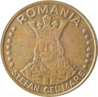 obverse of 20 Lei (1991 - 2003) coin with KM# 109 from Romania. Inscription: ROMANIA CD. ŞTEFAN CEL MARE