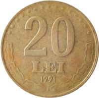 reverse of 20 Lei (1991 - 2003) coin with KM# 109 from Romania. Inscription: 20 LEI 1991
