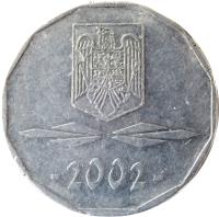 obverse of 5000 Lei (2001 - 2006) coin with KM# 158 from Romania. Inscription: -2002- V.G