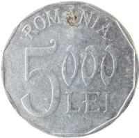 reverse of 5000 Lei (2001 - 2006) coin with KM# 158 from Romania. Inscription: ROMANIA 5000 LEI