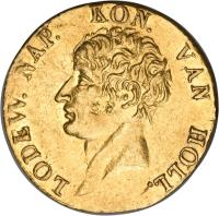 obverse of 1 Ducat - Napoleon III - Trade Coinage (1808 - 1809) coin with KM# 35 from Netherlands. Inscription: LODEW.NAP. KON. VAN HOLL.