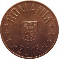 obverse of 5 Bani (2005 - 2016) coin with KM# 190 from Romania. Inscription: ROMANIA 2015
