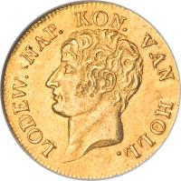 obverse of 1 Ducat - Napoleon III - Trade Coinage (1809 - 1810) coin with KM# 38 from Netherlands. Inscription: LODEW. NAP. KON. VAN HOLL.