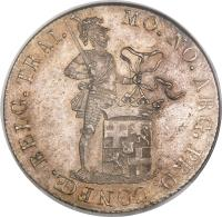 obverse of 50 Stuivers (1815 - 1816) coin with KM# 46 from Netherlands. Inscription: MO. NO. ARG. PRO. CONFŒ. BELG. TRAI.