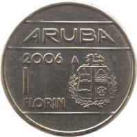 reverse of 1 Florin - Beatrix (1986 - 2013) coin with KM# 5 from Aruba. Inscription: ARUBA 1993 1 Florin