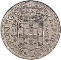 obverse of 400 Réis - Peter II (1688 - 1702) coin with KM# 154 from Portugal. Inscription: PETRVS.II.D.G.REX.PORTVG *400* / *1690*
