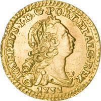 obverse of 1/2 Escudo - Jose I (1751 - 1777) coin with KM# 244 from Portugal. Inscription: IOSEPHUS.I.D.G.PORT.ET.ALG.REX 1751