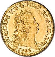 obverse of 1 Escudo - Joao V (1722 - 1842) coin with KM# 219 from Portugal. Inscription: IOANNES.V.D.G.PORT.ET.ALG.REX 1746