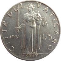 reverse of 5 Lire - Pius XII (1951 - 1958) coin with KM# 51 from Vatican City. Inscription: CITTA DEL VATICANO 1951 L · 5 IVSTITIA