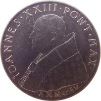 obverse of 100 Lire - Ioannes XXIII - Second Vatican Council (1962) coin with KM# 73 from Vatican City. Inscription: IOANNES · XXIII · PONT · MAX · ANNO · IV