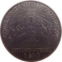 reverse of 100 Lire - Ioannes XXIII - Second Vatican Council (1962) coin with KM# 73 from Vatican City. Inscription: CONCILIVM · · C · VAT · II · A · MCMLXII · INITVM CITTA'DEL · VATICANO L · 100