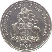 obverse of 5 Cents - Elizabeth II (1974 - 2006) coin with KM# 60 from Bahamas. Inscription: COMMONWEALTH OF THE BAHAMAS 2005