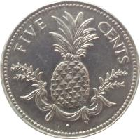 reverse of 5 Cents - Elizabeth II (1974 - 2006) coin with KM# 60 from Bahamas. Inscription: FIVE CENTS