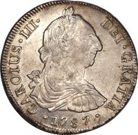 obverse of 8 Reales - Carlos III - Colonial Milled Coinage (1773 - 1789) coin with KM# 31 from Chile.