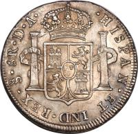 reverse of 8 Reales - Carlos III - Colonial Milled Coinage (1773 - 1789) coin with KM# 31 from Chile.