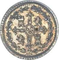 reverse of 1/4 Real - Carlos IV - Colonial Milled Coinage (1791 - 1792) coin with KM# 46 from Chile.