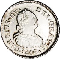obverse of 1/2 Real - Carlos IV - Colonial Milled Coinage (1792 - 1808) coin with KM# 57 from Chile.