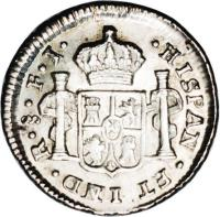 reverse of 1/2 Real - Carlos IV - Colonial Milled Coinage (1792 - 1808) coin with KM# 57 from Chile.