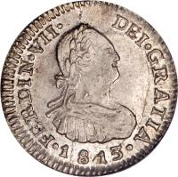 obverse of 1/2 Real - Fernando VII - Colonial Milled Coinage (1808 - 1817) coin with KM# 64 from Chile.