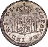 reverse of 1/2 Real - Fernando VII - Colonial Milled Coinage (1808 - 1817) coin with KM# 64 from Chile.