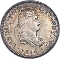 obverse of 2 Reales - Fernando VII - Colonial Milled Coinage (1812 - 1817) coin with KM# 79 from Chile.
