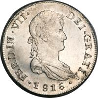 obverse of 8 Reales - Fernando VII - Colonial Milled Coinage (1812 - 1817) coin with KM# 80 from Chile.