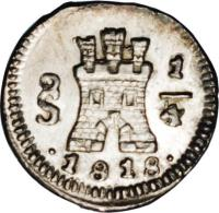reverse of 1/4 Real - Fernando VII - Colonial Milled Coinage (1810 - 1818) coin with KM# 73 from Chile.