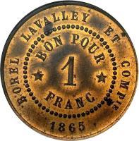 reverse of 1 Franc - Borel Lavalley (1865) coin with KM# Tn7 from Egypt. Inscription: BOREL LAVALLEY ET COMPIE BON POR 1 * FRANC * 1865