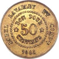 reverse of 50 Centimes - Borel Lavalley (1865) coin with KM# Tn6 from Egypt.