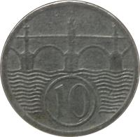 reverse of 10 Haléřů (1940 - 1944) coin with KM# 1 from Bohemia and Moravia. Inscription: 10