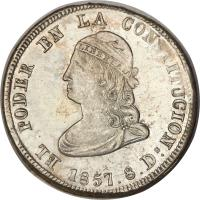 obverse of 4 Reales (1855 - 1857) coin with KM# 37 from Ecuador.