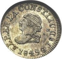 obverse of 1/4 Real (1849 - 1862) coin with KM# 36 from Ecuador.