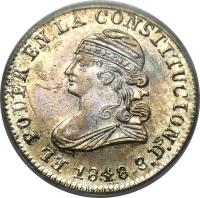 obverse of 1/2 Real (1848 - 1849) coin with KM# 35 from Ecuador.