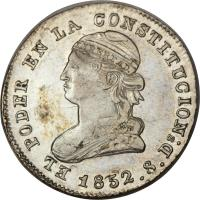 obverse of 2 Reales (1847 - 1852) coin with KM# 33 from Ecuador.