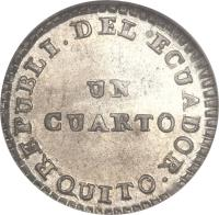 reverse of 1/4 Real (1842 - 1843) coin with KM# 26 from Ecuador.