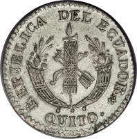 obverse of 2 Reales (1836 - 1841) coin with KM# 18 from Ecuador.