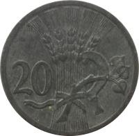 reverse of 20 Haléřů (1940 - 1944) coin with KM# 2 from Bohemia and Moravia. Inscription: 20